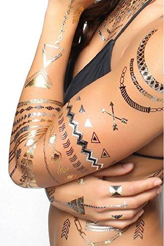 15 Tatouages éphémères métallique waterproof. Tatoo temporaire or - Bijou de peau sirène