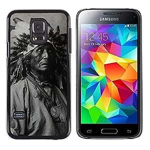 Paccase / Dura PC Caso Funda Carcasa de Protección para - Indian Photograph Feathers Old Man Native - Samsung Galaxy S5 Mini, SM-G800, NOT S5 REGULAR!