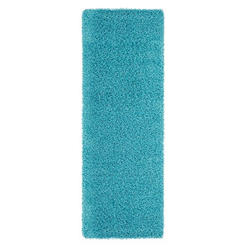 (Ottomanson Soft Cozy Color Solid Shag Runner Rug Contemporary Hallway and Kitchen Shag Runner Rug, Turquoise Blue, 2'7