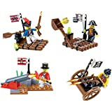 Pirates Raid Blocks 4 Individual Building Brick Playsets with 144 pc Toy Bricks Included - 4 Separate Lego Compatible Brick Sets