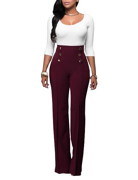 Ninimour Pantalones de Pierna Ancha Cintura Alta para Mujer
