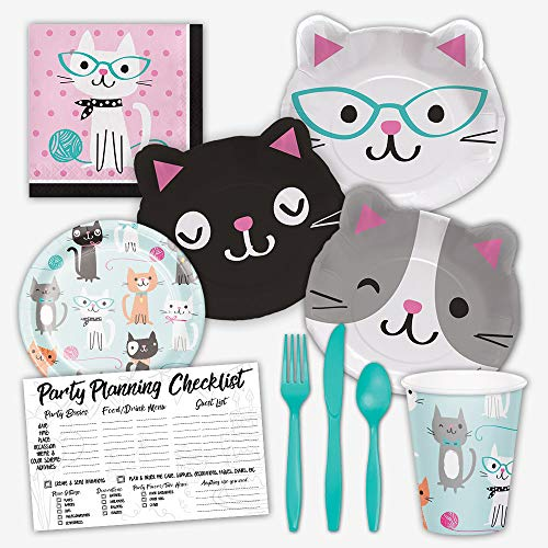 Honey Dew Gifts Purr-FECT Party Cat Birthday Party Supplies Set for Girls - Serves 8 Guests