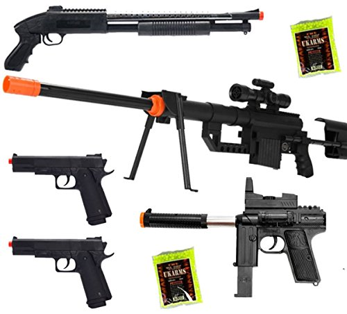 Shop-4-Airsoft5 Gun Package P1200 Sniper & Shotgun & 2 Pistols & 2000 BBs by Dark Ops Airsoft