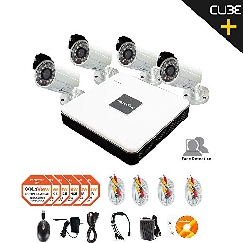 LaView Cube Plus LV-KD514FD7S 4-Channel Security System with Face Detection, Dropbox Backup, 4x 700TVL Bullet Cameras (No HDD Included)