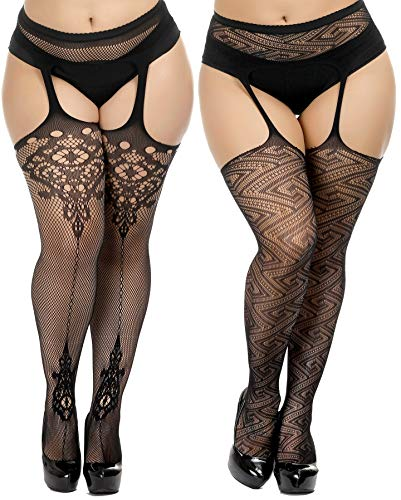 (TGD Womens Plus Size Stockings Suspender Pantyhose Fishnet Tights Black Thigh High Stocking 2Pairs Size(US 8-16) (Black 5078))