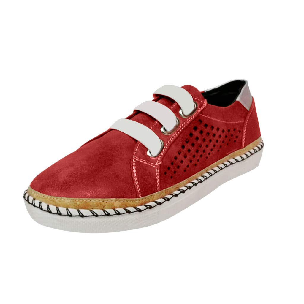 ZOMUSAR New! 2019 Womens Fashion Flats Hollow-Out Round Toe Casual Shoes Breathable Sneakers Red