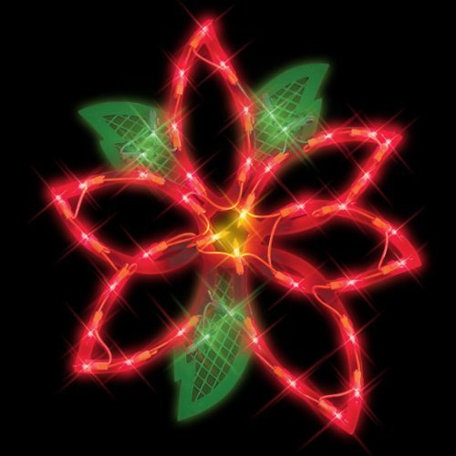 Outdoor Lighted Poinsettias - 3