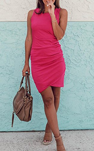 Dresses Dress Rose Irregular 108 Red Sleeve ECOWISH Mini Short Womens Ruched Bodycon Summer Casual 5CFwqf