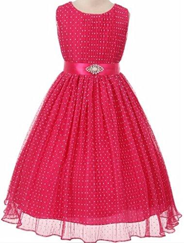 Flocked Polka Dot Mesh - Flower Girl Crinkle Mesh Flocked Polka Dot Dress for Little Girl Fuchsia 2 63.77