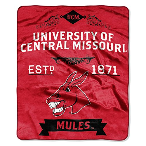 The Mule Company (Officially Licensed NCAA Central Missouri Mules Label Plush Raschel Throw Blanket, 50