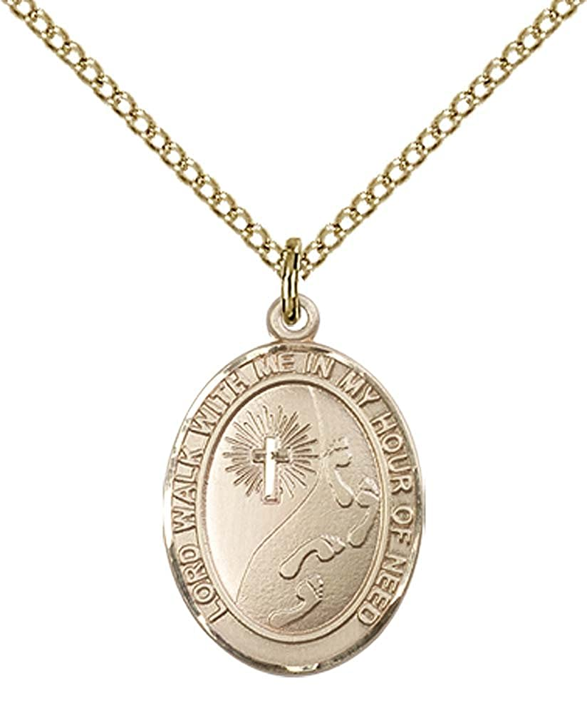 Cross Pendant with 18 Gold Filled Lite Curb Chain. 14kt Gold Filled Footprints