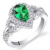 Simulated Emerald Sterling Silver Halo Crest Ring Size 7