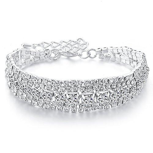 Choker Rhinestone Bracelet Silver-tone Cubic Zirconia Tennis Wedding Bridal Bracelets Birthday (Rhinestone Bridal Bracelets)
