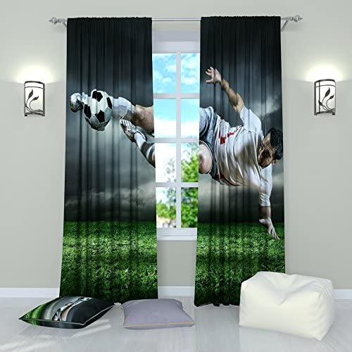 Factory4me Sports Curtains Football Final Blow. Window Curtain Set of 2 Panels Each W52 x L96 Total W104 x L96 inches Drape