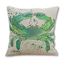 OneMtoss16'Inches Sea Life Series Cotton Linen Square Throw Pillow Case Cushion Cover Watercolor Lime-green Crab