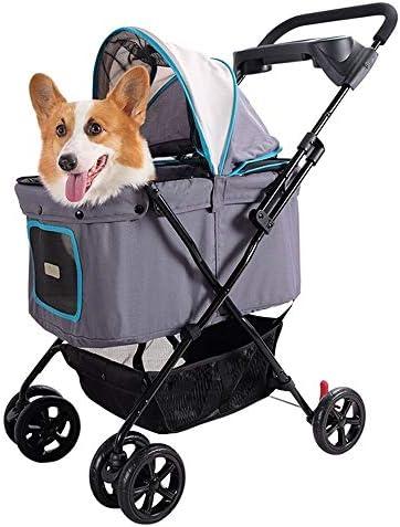 トラベルドッグカート折り畳み式のハイキングキャンプキャットカート中小犬ペット (Color : Light grey)
