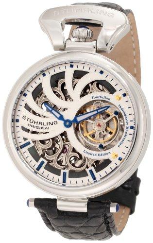 Stuhrling Original Men's 127C.331X2 Tourbillon Emperors Tourbillon Limited Edition Mechanical Skeleton Silver Tone Watch