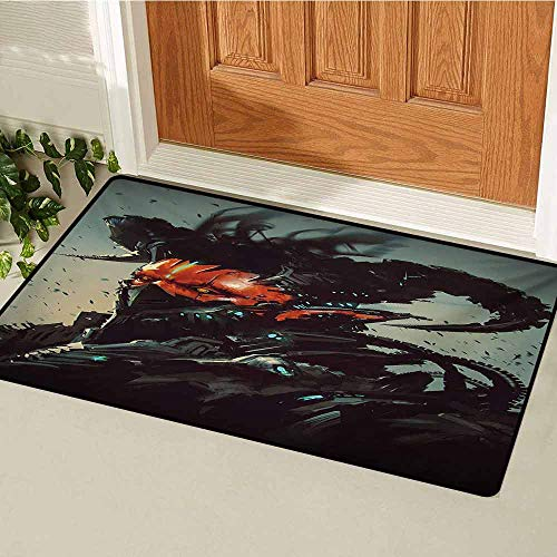 GUUVOR Fantasy Inlet Outdoor Door mat Unusual Sinister Robotic Demon Character Futuristic Computer-Generated Cyber Print Catch dust Snow and mud W31.5 x L47.2 Inch Black Red ()