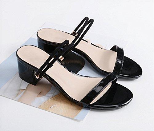 Sandalias La Grueso Redonda De Cabeza Tacón Desgaste Simple Xie Verano Fiesta Dos Cintura Black Abierta Mujer Vestidos Zapatos Mediados Zapatillas Punta XqSwWW8t