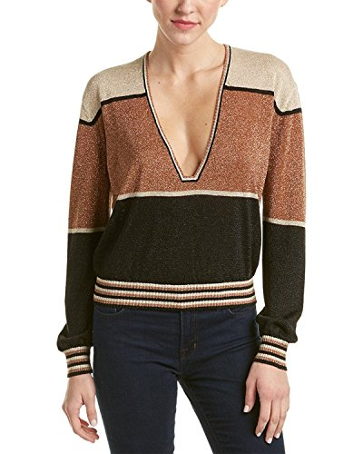 Free People Women's Gold Dust Colorblock Sweater (X-Small, Metallic) by Free People