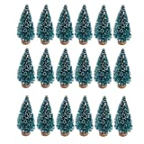 24 Pieces Artificial Mini Christmas Sisal Snow Frost Trees with Wood Base Bottle Brush Trees Plastic Winter Snow Ornaments Tabletop Trees for Christmas Party Home Decoration (Blue-Green)