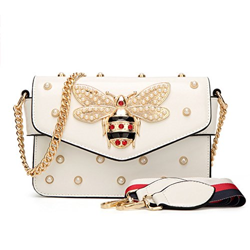 Bag for Womens,Little Bee Fashion Single Shoulder Messager Bags with Pearl (White) (Bee Messenger)