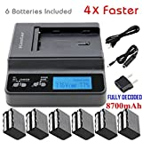 Kastar Fast Charger + 6 Battery for Sony NP-F970 NP-F960 F970 F960 F975 F950 and DCR-VX2100 HDR-AX2000 FX1 FX7 FX1000 HVR-HD1000U V1U Z1P Z1U Z5U Z7U HXR-MC2000U FS100U FS700U and LED Video Light