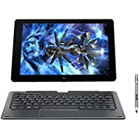 Nuvision DUO 10.1-inch HD IPS Touchscreen 2-in-1 Laptop PC with Keyboard and Stylus Intel Atom Processor 2GB RAM 64GB SSD 802.11ac WIFI HDMI Webcam Bluetooth Windows 10-Blue
