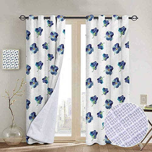 NUOMANAN Blackout Curtains Floral,Watercolors Painted Violet Flowers Pattern Blooms Spring Nature Theme,Navy Blue Turquoise Green,for Bedroom,Nursery,Living Room 54