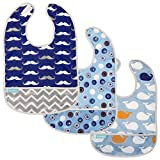 Kushies Cleanbib Waterproof Feeding Bib with Catch All/Crumb Catcher pocket. Wipe clean and reuse! Lightweight for comfort , 3-Pack, Baby Boys, 6-12 Months, Blue Crazy Circles 2 / Blue Whales / Navy Mustache
