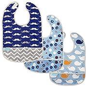 Kushies Cleanbib Waterproof Bib 6-12M 3-Pack Blue Crazy Circles 2 / Blue Whales / Navy Mustache