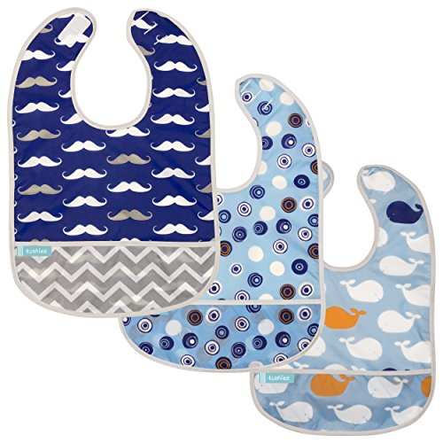 Kushies Cleanbib Waterproof Bib, 3-Pack, 6-12 Months, Blue Crazy Circles 2 / Blue Whales / Navy Mustache