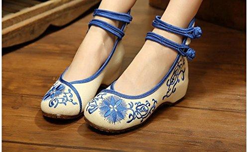 otoño estilo tradicional Viento chino bordados amp;qq primavera zapatos verano Sky de elegante Blue alta de las de pueblos mujeres zapatos qdaSd0
