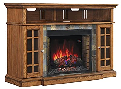 "ClassicFlame 28MM6307-O107 Lakeland TV Stand for TVs up to 65"", Premium Oak (Electric Fireplace Insert sold separately)"