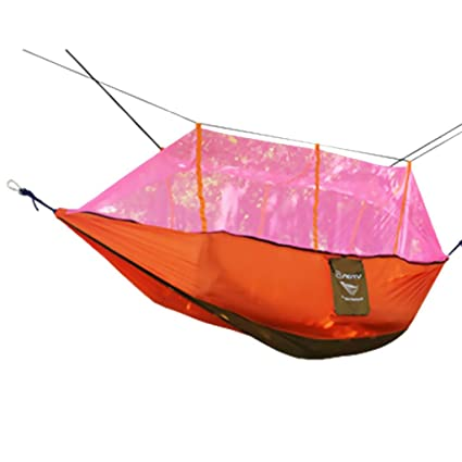 FashLady Orange: Double Hammock Tree 2Person Patio Bed Swing Outdoor with Mosquito Net Orange