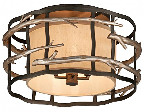 (Four Light Graphite And Silver Drum Shade Flush Mount)