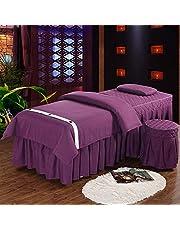 Chilechuan Spa-behandeling schoonheidssalon massagetafel bed rok, premium massagetafel blad sets schoonheid bed cover 4 stuk ademende massage bedden rok kussensloop spa bedsprei met gezichtsrust Hole-
