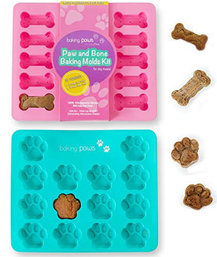 Paw Mold & Dog Bone Mold - x2 Pack Paw Print Cake Mold and Dog Cake Bone Pan - Silicone Mold Dog Treat Tray, Ice cube, Cookie Cutters, Candy for Pets and Kids by BakingMissy Ice Treat