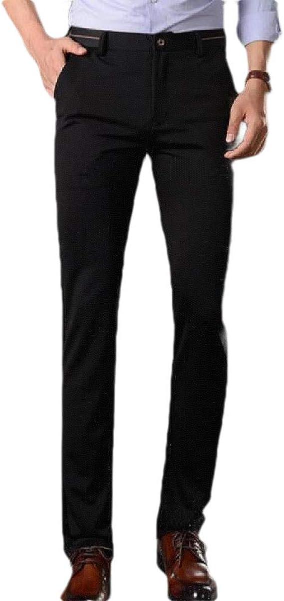 Candiyer Men's Straight-Fit Thicken Fleece Slim Business Plain Front Pant