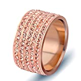 LILILEO Jewelry 12mm Rose Gold Stainless Steel Ring Inlaid With 5 Rows Of Zircon For Women's Rings
