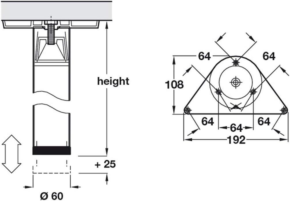 330 mm Pied de table en m/étal Force Hauteur r/églable 710-1100 mm Pieds de support avec tube rond /Ø 60 mm Gedotec Pieds de meuble en acier inoxydable r/églable en hauteur argent