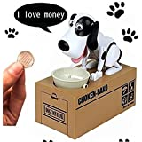 Rorychen Cute Itazura Automatic Stealing Coin Dog Piggy Bank Saving Box Moneybox Money Bank Children Present Gift White