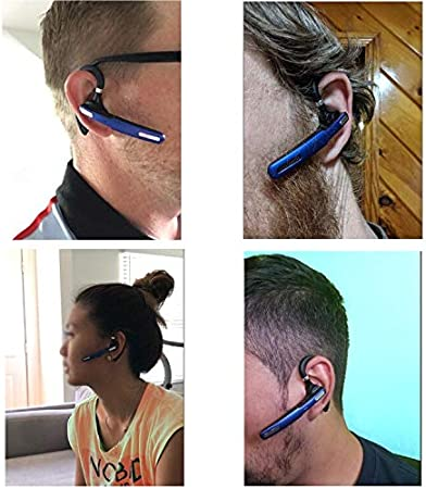 Phone Wireless Bluetooth Earpiece W//Noise Cancelling Mic,10-Hr Playing Time Reaton Bluetooth Headset Hands Free Wireless Headphone for Cell Phone-Compatible with iOS Android-Blue