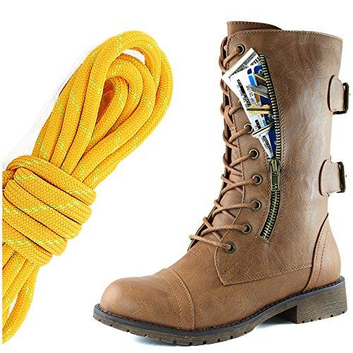 DailyZapatos Mujeres Military Up Up Buckle Combat Botas Mid Knee High Exclusivo Bolsillo De Tarjeta De Crédito, Tangerine Lime Slim Tan