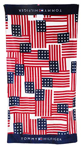 Tommy Hilfiger 35 x 66 Repeating Americana Flags Pattern Beach Towel