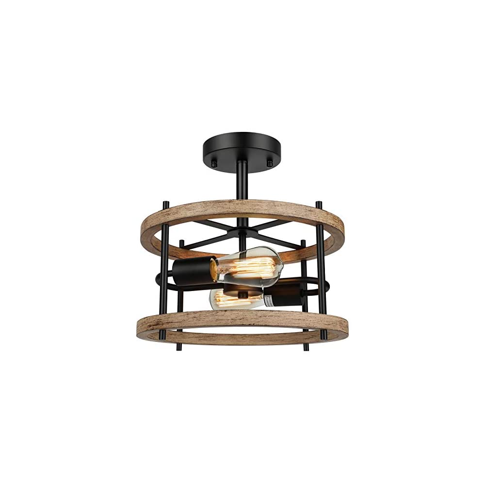 2-Light Retro Semi Flush Mount Ceiling Light Fixture, Rustic Vintage Wood Ceiling Light, Black Metal, Industrial…