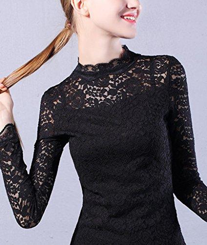 1de658b51a6ae Bigood Dentelle T-Shirt Col Montant Slim Femme sous-Pull Chic Hollow-Out  Noir Size 3XL: Amazon.fr: Vêtements et accessoires