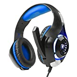 Aottom Professional Over-ear Stereo Surround Gaming Headset Headband PS4 Headphones with Mic Bass LED For Xbox PC Tablet Laptop(Blue)