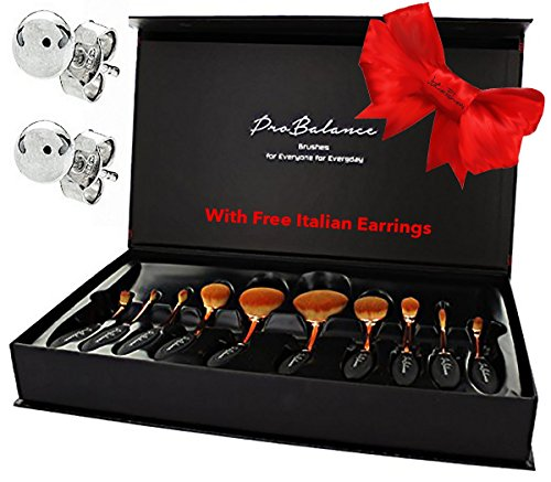 Great Gift Idea makeup brushes Professional Pro Balance Soft Rose Gold Hair Oval Makeup Brush Sets 10 Pcs Smooth Cosmetics wow Toothbrush Brushes Foundation Eyeshadow Eyeliner Contour - My What Skin Fit Colors Tone