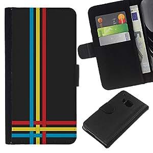 YiPhone /// Tirón de la caja Cartera de cuero con ranuras para tarjetas - Azul Rojo Amarillo - HTC One M7